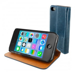 Mobiparts Luxury Book Case Blue iPhone 4/4S