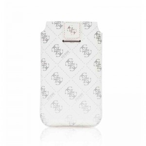 Guess Pouch Shiny White iPhone 4 en 4S
