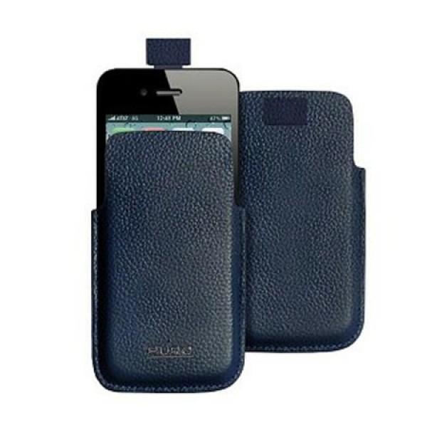 Puro leren insteekhoes blauw iPhone 4 en 4S